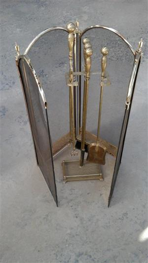 BRASS FIREPLACE CLEANING SET