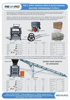 Brick making machine static Revaro RS5-1 upgradeable to RS5-1