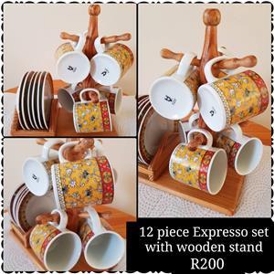 Espresso Set in Wooden Stand