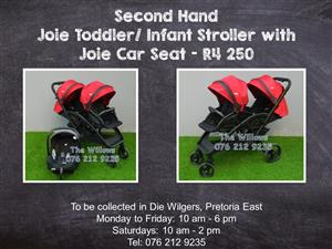 Second Hand Joie Toddler/ Infant Stroller with Joie Car Seat
