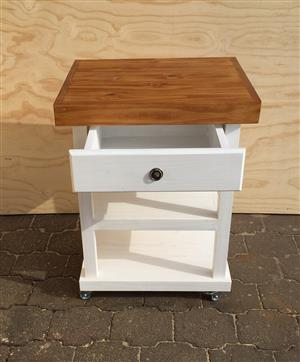 Kitchen Island Farmhouse series 690 with drawer and 2 shelves Two tone