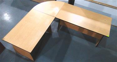 Oak  L shape desk with corner link