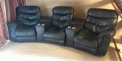 Genuine Black Leather Cinema Recliner Sofa Couches Chairs Table Arm Rests Bench Couch Movie Theatre Seats Audio Visual TV Lounge Benches