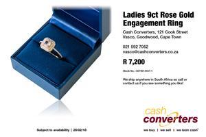 Ladies 9ct Rose Gold Engagement Ring