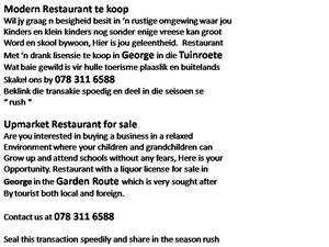 MODERN RESTAURANT FOR SALE R 1 800 000 For Sale
