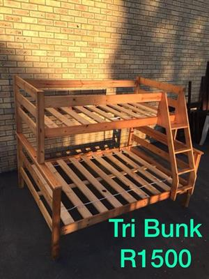 Wood Tri Bunk Single and double