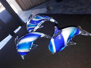 Blue glass dolphin ornaments
