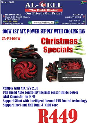 Zavision 400 Watts ATX Computer Power Supply With Cooling Fan