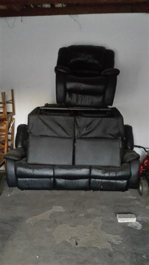 3 Piece Leather Recliner Lounge Suite