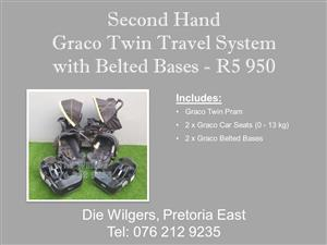 Second Hand Graco Twin Travel System with Belted Bases