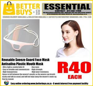 Reusable Sneeze Guard Face Mask – Antisaliva Plastic Mouth Mask