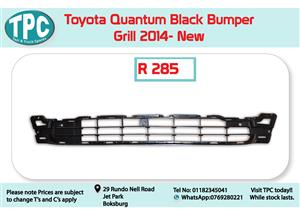 Toyota Quantum Black Bumper Grill 2014- for Sale at TPC