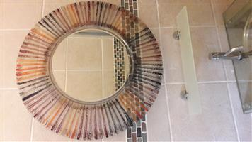 Round Glass-framed Wall Mirror