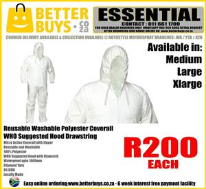 Reusable 65 GSM Washable Polyester Coverall – WHO Suggested Hood