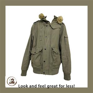 You can have this Goliath olive green bomber jacket with faux fur from 2nd Take.