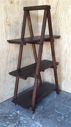 Trestle shelving Single A Frame 3 tier 1670 - Stained