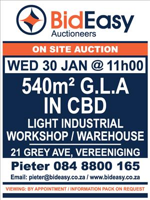 BIDEASY AUCTIONS: Vaal Commercial, Industrial and Residential Auctions