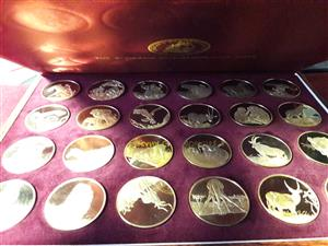 The Wildlife Society of SA 50th Anniversary Medallion Set. 24 ct Gold Plated Sterling Silver