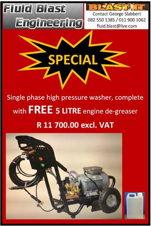 SINGLE PHASE HIGH PRESSURE WASHER : R 11 700.00 EXCL. VAT INCL. FREE 5L DE-GREASER