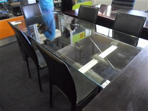 5 Seater Glass Top Dining Room Suite