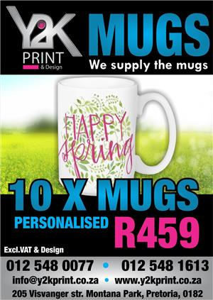 Personalise your mugs at Y2K-Print & Design