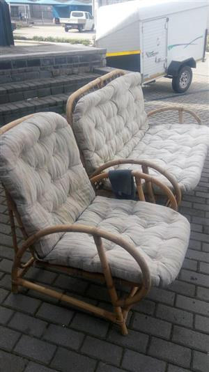 Cane patio benches with pillows for sale