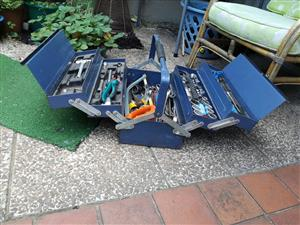 Large blue toolbox with tools for sale