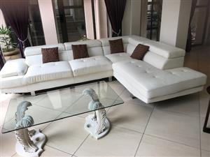 White leather lounge suite