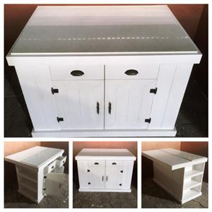 Kitchen Island Farmhouse Elegant series 1300 with drawers and doors - White washed