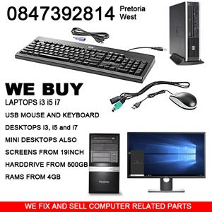 We buy  Laptops USB MOUSE AND KEYBOARD  DESKTOPS