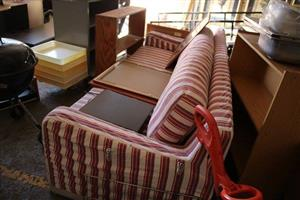 Red and white striped 3 seater couch