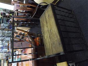 Steel Wooden Seat Garden Chair