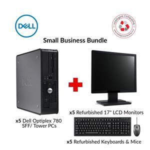 Refurbished X5 DELL OPTIPLEX 780 PCs SMALL BUSINESS BUNDLE