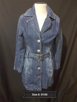 Size 8 light blue denim jacket with belt
