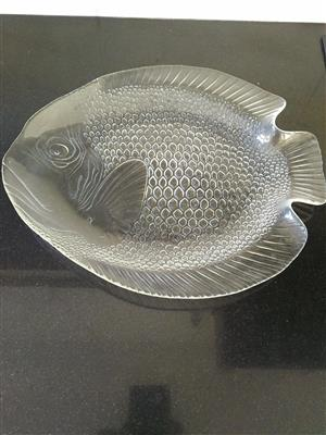 3 Lovely Glass Fish Platters