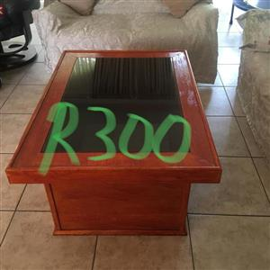 Glass top wooden table for sale
