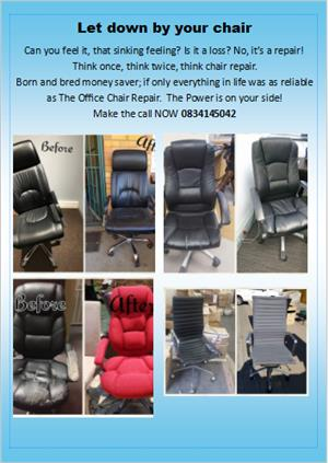 Office chairs repaired (and you get a 2 year guarantee!)