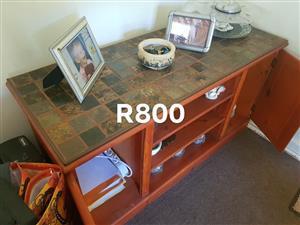 Wooden tile top shelf cabinet