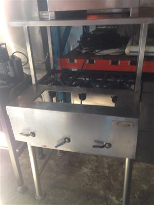 3 burner boiling table with s/s shelf