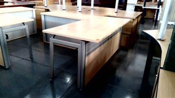 Maple l shape desk with pedenza desk