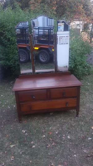Antique, vintage three-mirror dressing table