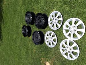 4x15''Steel Rims and Caps from KIA Rio for sale R 1000