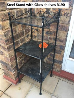 Steel stand with glass shelves