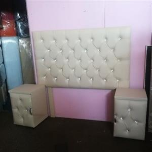 New Queen cream faux leather headboard & pedestals with shuny buttons