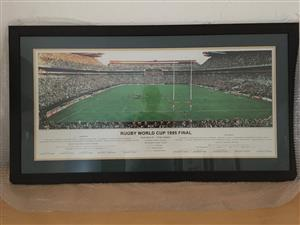 1995 rugby world cup framed poster