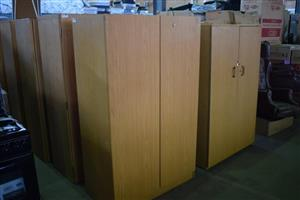 Various light wooden 2 door cupboards