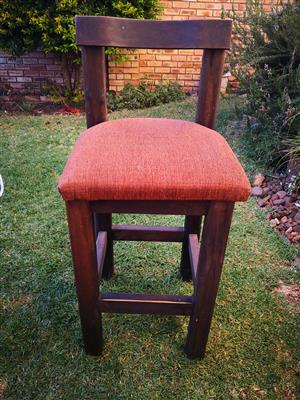 Bar chairs solid wood x4. 72cm high to top backrest, 102cm high to seat, seat 48cmx48cm. Price for each separately
