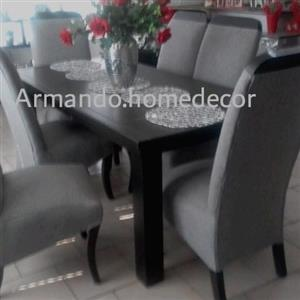 New grey fabric 7pc dining set