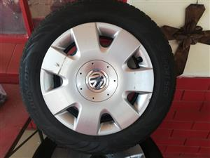 New Tyres, Rims, Original VW wheelcaps & 20 bolts for sale!