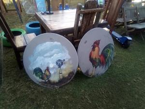 Round dish chicken paintings